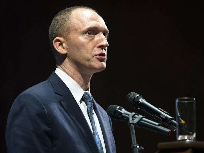 Carter Page speaks at a graduation ceremony at the New Economic School in Moscow, Russia, in July 2016: AP