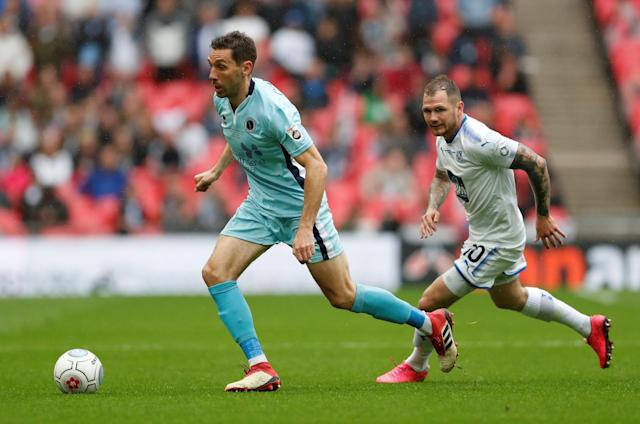Soccer Football - National League Promotion Final - Tranmere Rovers v Boreham Wood - Wembley Stadium, London, Britain - May 12, 2018 Tranmere Rovers' James Norwood in action with Boreham Woods' Tom Champion Action Images/Matthew Childs