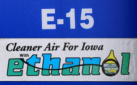 FILE PHOTO: A gas pump selling E15, a gasoline with 15 percent of ethanol, is seen in Mason City