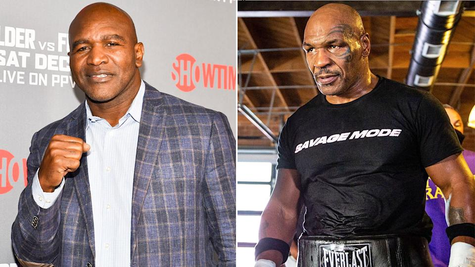 Pictured here, Evander Holyfield and fellow boxing Hall of Fame heavyweight Mike Tyson.