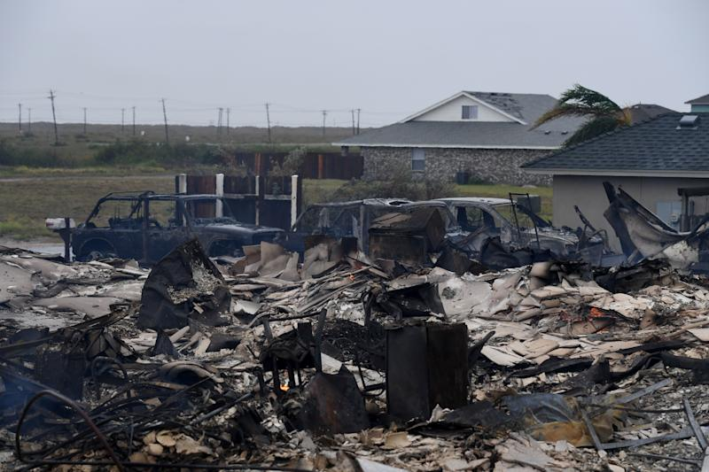 A burnt-out house that caught fire after Hurricane Harvey hit Corpus Christi.