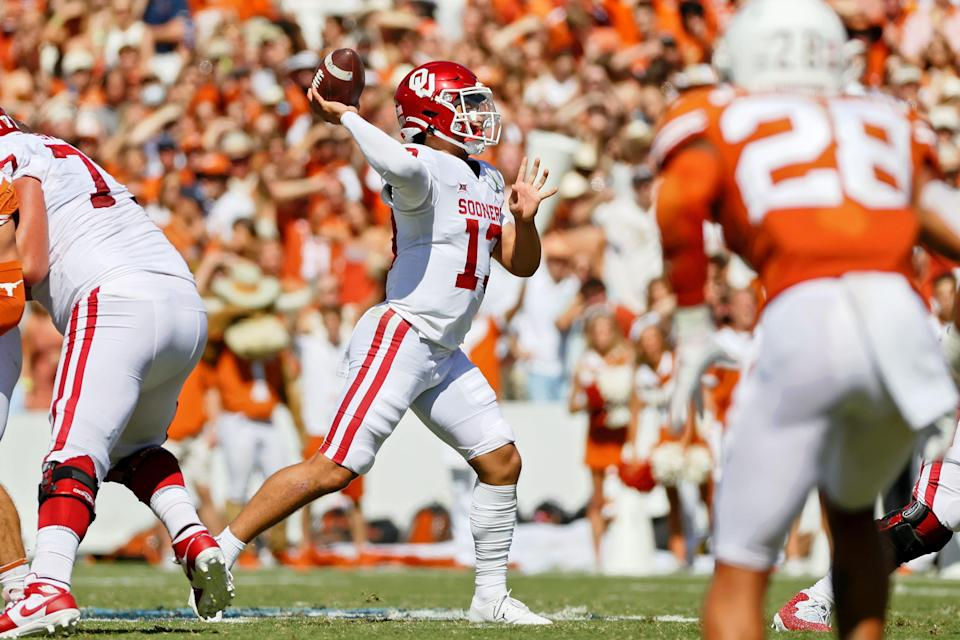 Oklahoma Sooners quarterback Caleb Williams (13) passes the ball against the Texas Longhorns during the second quarter at the Cotton Bowl. Mandatory Credit: Kevin Jairaj-USA TODAY Sports