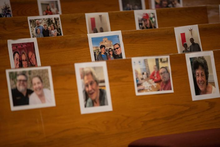 Members of the congregation at Good Shepherd Catholic Church sent in photos of their families, so they could be spiritually present during the three homilies during Easter weekend.