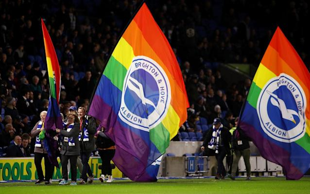 Brighton confirmed two men were arrested on suspicion of using homophobic gestures during Sunday's game against Wolves - Getty Images Europe