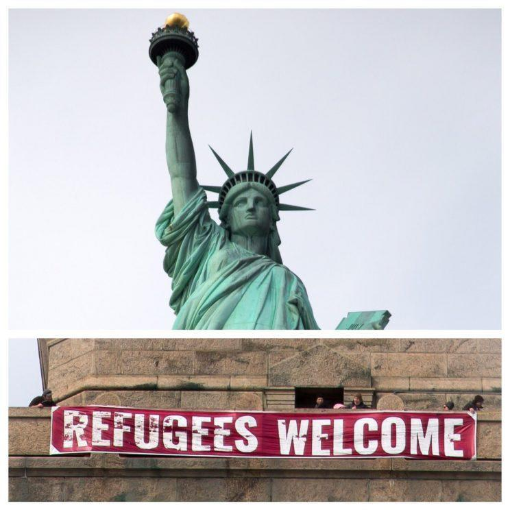"Activists hung a banner saying ""REFUGEES WELCOME"" on the base of the Statue of Liberty in New York on Feb. 21. (Photo: Alt Lady Liberty via Twitter)"