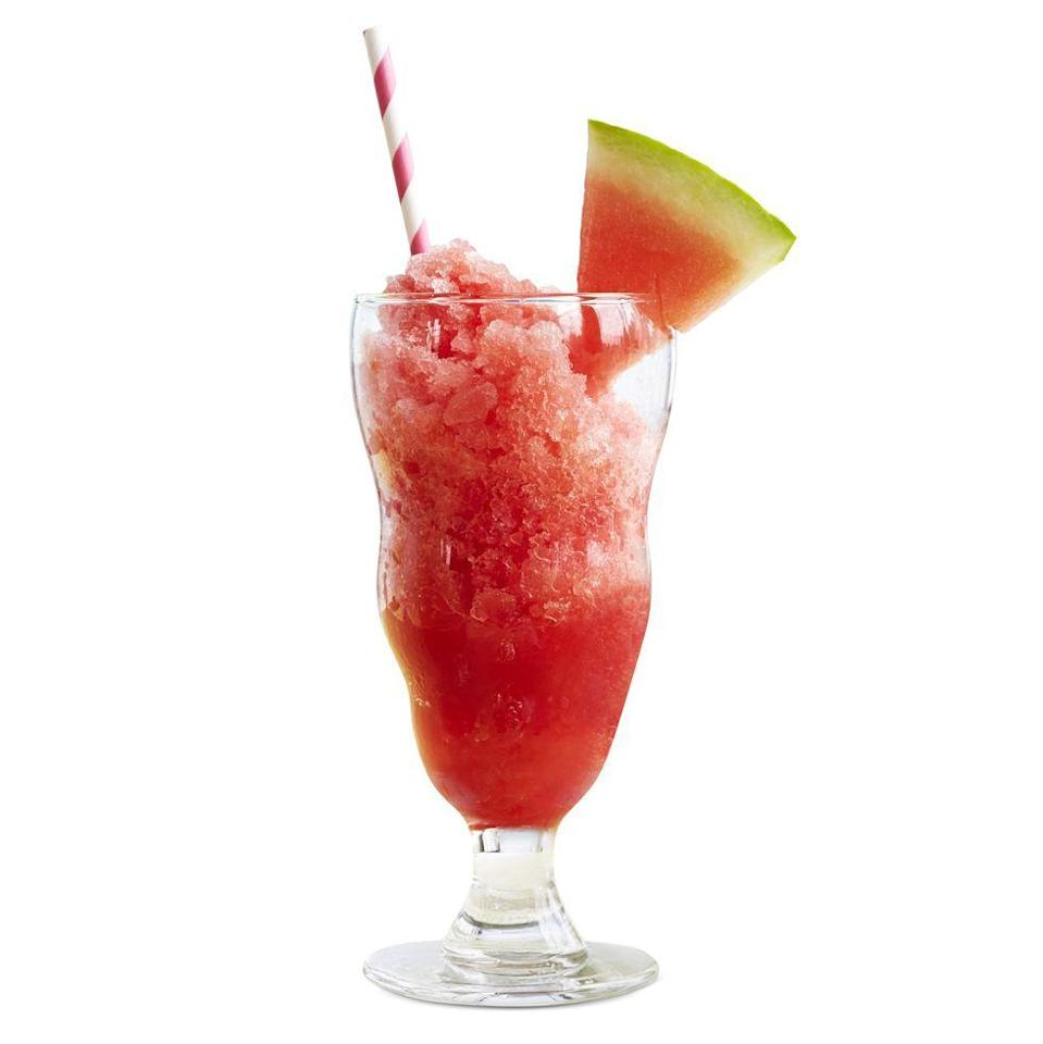 """<p>Combine watermelon, sugar, and lime juice for a slush that will keep everyone's thirst quenched.</p><p><strong><em><a href=""""https://www.womansday.com/food-recipes/a32935011/icy-watermelon-granita-recipe/"""" rel=""""nofollow noopener"""" target=""""_blank"""" data-ylk=""""slk:Get the Icy Watermelon Granita recipe"""" class=""""link rapid-noclick-resp"""">Get the Icy Watermelon Granita recipe</a>.</em></strong></p>"""