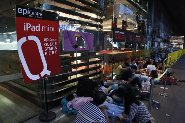 People queueing for the new iPad mini outside 313 Orchard