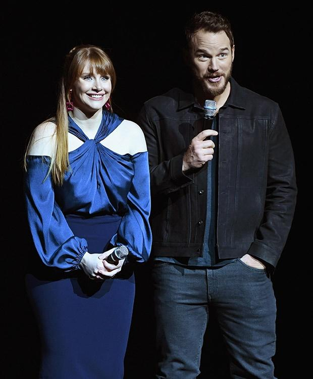 Bryce Dallas Howard (L) and Chris Pratt speak onst