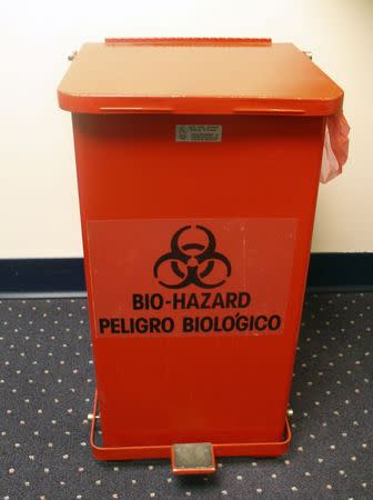 A bio-hazard waste container is seen in an undated handout photo provided by the Centers for Disease Control and Prevention (CDC) in Atlanta. REUTERS/CDC/Handout via Reuters