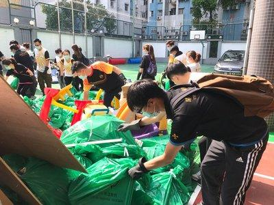 Sands China team members are assisting at several schools, including Fu Jian School (pictured) and Choi Kou School, for cleaning up debris and rubbish.