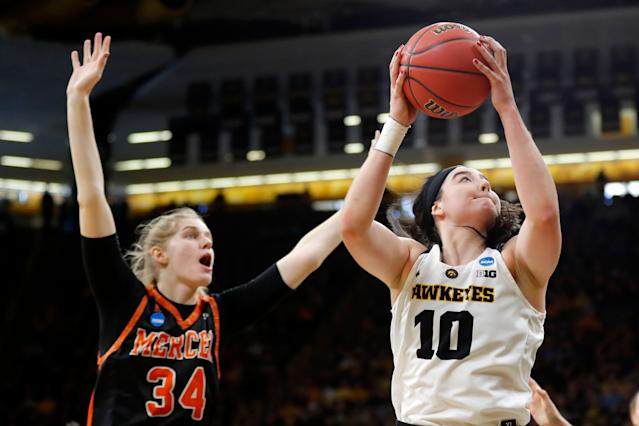 Iowa forward Megan Gustafson was named among the four best women's college basketball players in 2019. (AP Photo/Charlie Neibergall)