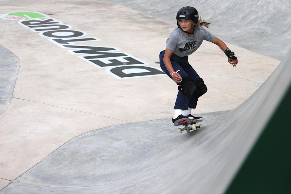 Sky Brown of Great Britain competes in the Women's Park Semifinal at the Dew Tour in Des Moines, Iowa (Getty)