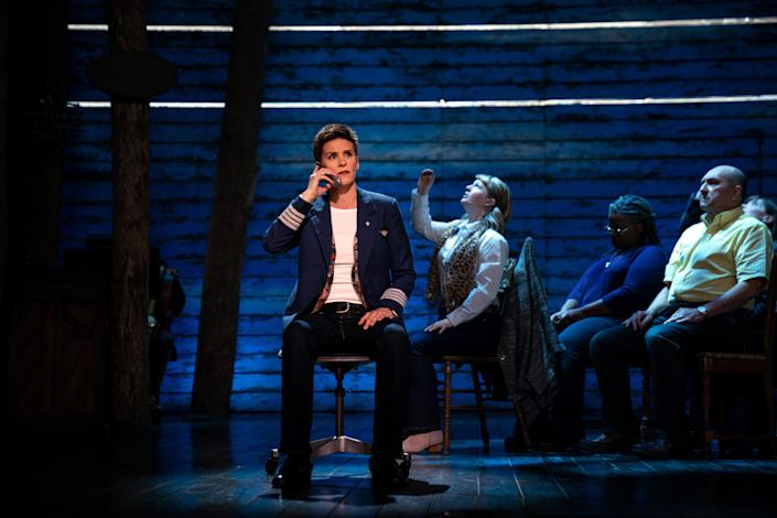 Jenn Colella, as Captain Beverley Bass, with Emily Walton, Q. Smith and Joel Hatch in
