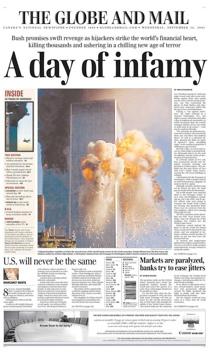 The Globe and Mail's front page on 12 September, 2001 (The Globe and Mail)