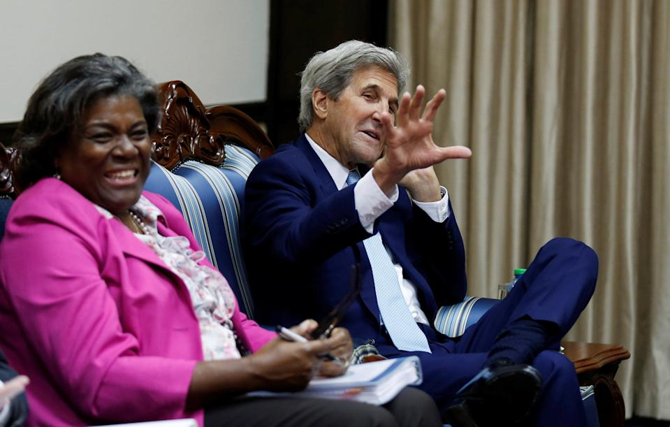 U.S. Secretary of State John Kerry, right, sits with U.S. Assistant Secretary of State for Africa Linda Thomas-Greenfield, at the start of bilateral talks with Kenya's President Uhuru Kenyatta, at the State House in Kenya's capital Nairobi, Monday Aug. 22, 2016.