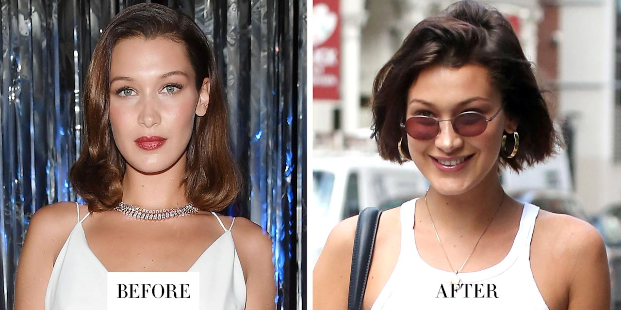 <p><strong></strong><strong>When: </strong>July 17, 2017</p><p><strong>What:</strong> Short Bob</p><p><strong>Why we love it:</strong> Bella Hadid has been gradually cutting her hair shorter and shorter since the start of the year - but at this rate she'll have a pixie cut by the fall. The model just debuted her shortest chop yet: a sleek, chin-length bob.</p>