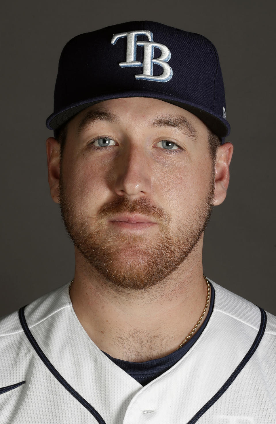 FILE- This is a 2020, file photo, of Tyler Zombro of the Tampa Rays baseball team. Zombro was kept overnight at a hospital and remains in stable condition after being struck in the head by a line drive Thursday night, June 3, 2021, a frightening scene that prompted Triple-A Durham to suspend its game. (AP Photo/John Bazemore, File)
