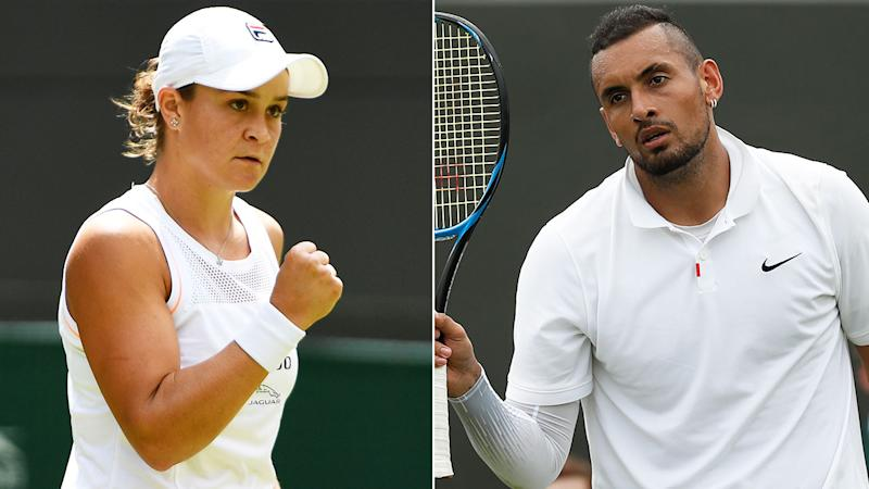 Ash Barty and Nick Kyrgios both won their first round matches.