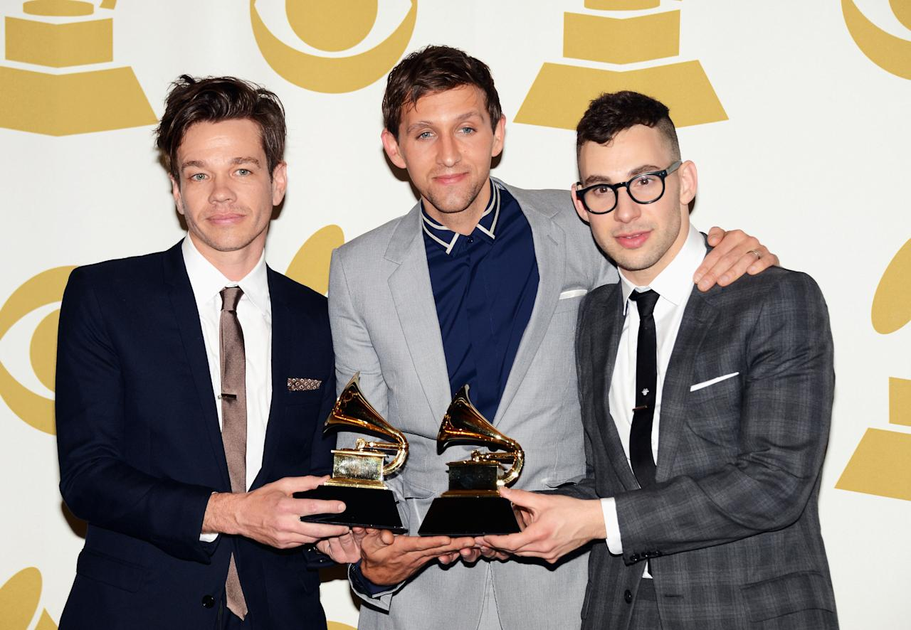 "LOS ANGELES, CA - FEBRUARY 10:  (L-R) Musicians Nate Ruess, Andrew Dost, and Jack Antonoff of the band fun., winner Best New Album and Song of The Year ""We Are Young"", pose in the press room at the 55th Annual GRAMMY Awards at Staples Center on February 10, 2013 in Los Angeles, California.  (Photo by Jason Merritt/Getty Images)"