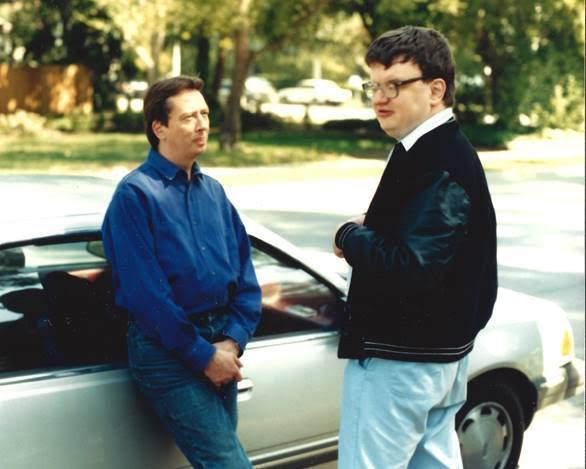 Barry Morrow talking with Kim Peek on the day that he decided to donate his Oscar to him. Peek is wearing a <em>Rain Man</em> crew jacket. (Photo: Courtesy of Barry Morrow)