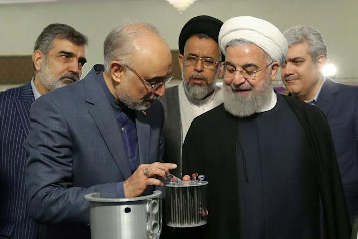 """Salehi shows nuclear equipment to Iranian President Hassan Rouhani during """"nuclear technology day"""" in Tehran earlier this year (AFP Photo/HO)"""