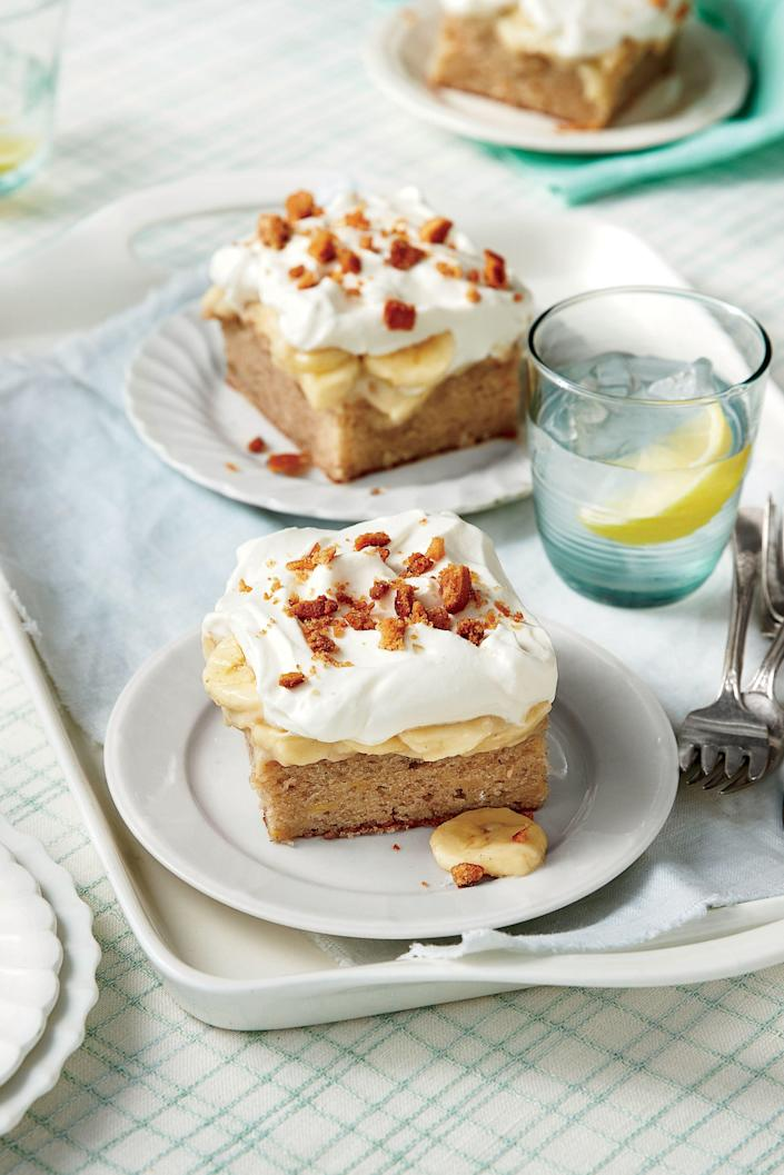 "<p><b>Recipe: <a href=""https://www.southernliving.com/recipes/banana-pudding-poke-cake-recipe"" rel=""nofollow noopener"" target=""_blank"" data-ylk=""slk:Banana Pudding Poke Cake"" class=""link rapid-noclick-resp"">Banana Pudding Poke Cake</a></b></p> <p>When tasked with baking for a crowd, sheet cake is our go-to solution. We love this creative, mess-free take on Grandma's favorite banana pudding recipe.</p>"