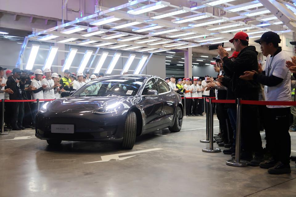 A China-made Tesla Model 3 vehicle is seen at a delivery ceremony in the Shanghai Gigafactory of the U.S. electric car maker in Shanghai, China December 30, 2019.  REUTERS/Yilei Sun