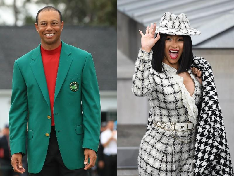 Tiger Woods, left, and Cardi B, right. (Photos: Getty Images)