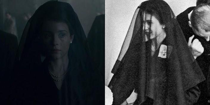 <p>During the mourning period of King George, Princess Elizabeth, Princess Margaret, and their mother were seen in black long sleeve mid-length dresses and thin black veils.</p>