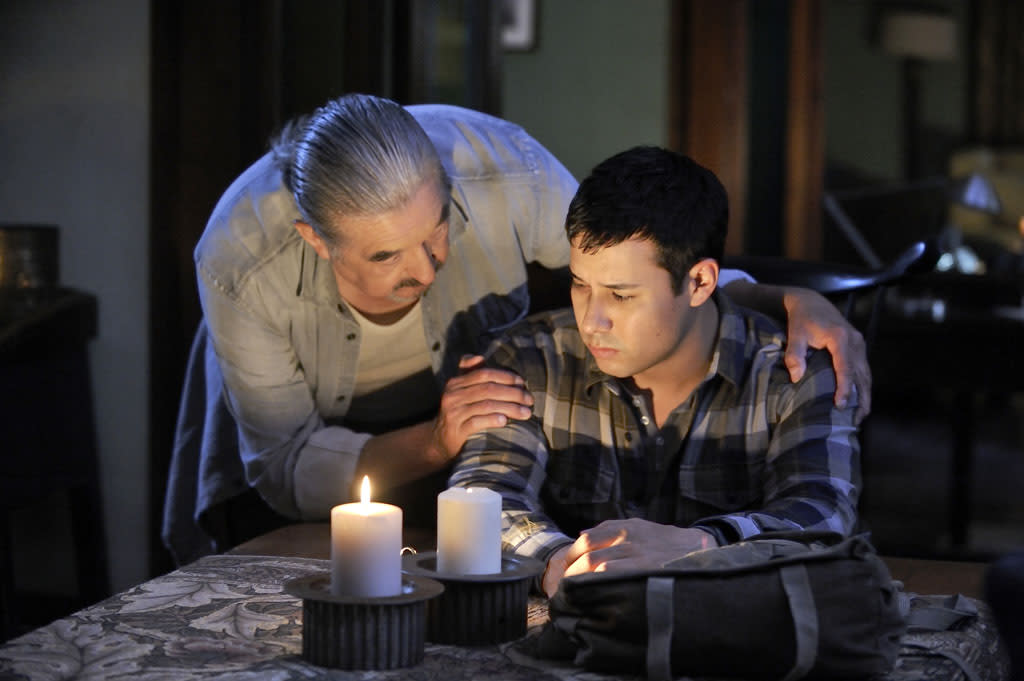 "Graham Greene as Rafe McCawley and Justin Rain as Quentin McCawley in the ""Defiance"" episode, ""Good Bye Blue Sky."""