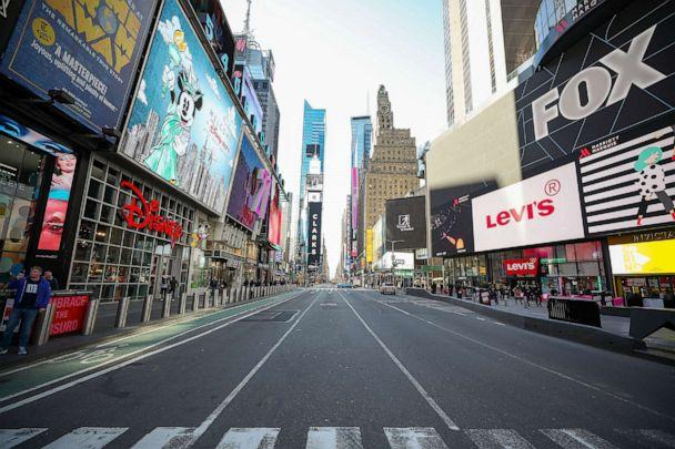 PHOTO: New York's Times Square is seen nearly empty due to the COVID-19 pandemic, March 16, 2020 in New York.  (Tayfun Coskun/Anadolu Agency via Getty Images)