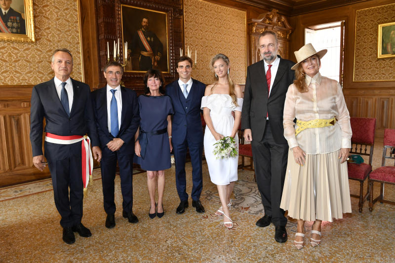 MONACO, MONACO - JULY 20: (L-R) Mayor of Monaco Georges Marsan, Henri d'Ambrosio, Giselle d'Ambrosio, Jerome d'Ambrosio, Eleonore of Habsburg, Karl of Habsburg and Francesca Thyssen-Bornemisza attend the Civil Marriage of Eleonore of Habsburg and Jerome d'Ambrosio on July 20, 2020 in Monaco, Monaco. Eleonore (Jelena Maria del Pilar Christina Iona) von Habsburg and Jerome d'Ambrosio have made a commitment to each other in marriage today at the registry office in Monaco. The celebration happened in a strictly intimate circle of family and friends. The wedding between Eleonore, born 28th February 1994 in Salzburg as daughter of Karl von Habsburg and Francesca Thyssen-Bornemisza, and Jerome d'Ambrosio, born 27th December 1985 in Etterbeck (Belgium), was planned quite differently. Covid-19 and related legal restrictions have made it impossible to have a formal wedding as had been planned for this year. The church wedding in a bigger circle will be celebrated as soon as the pandemic restrictions get lifted. As witnesses to the marriage the respective sisters were acting. For Eleonore von Habsburg her sister Gloria, for Jérôme d'Ambrosio his sister Olivia. The civil wedding was attended by the closest family members. After the wedding a slightly bigger circle of friends was meeting for lunch, of course respecting all rules of social distancing. Eleonore, a professional jewelry designer, and Jerome, a Formula E race car driver, met on a plane, three years ago, flying from London to Nice. (Photo by Luc Castel/Getty Images)