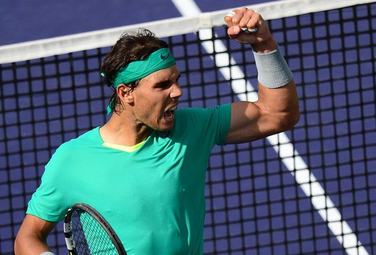 Rafael Nadal celebrates winning a point against Juan Martin Del Potro, in Indian Wells, on March 17, 2013
