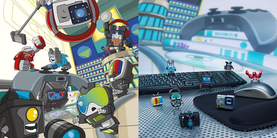Series 1 TECHIE TEAM characters are SCREEN FIEND, CHILLA GORILLA, SKILLZ PUNK, S.A. CHEEZ, RADDHAX, FOMO, GOOB TOOB, and DR. MOGGLY! (Hasbro)