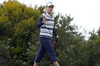 Lexi Thompson acknowledges the crowd after making her putt on the first green during the first round of the U.S. Women's Open golf tournament at The Olympic Club, Thursday, June 3, 2021, in San Francisco. (AP Photo/Jeff Chiu)