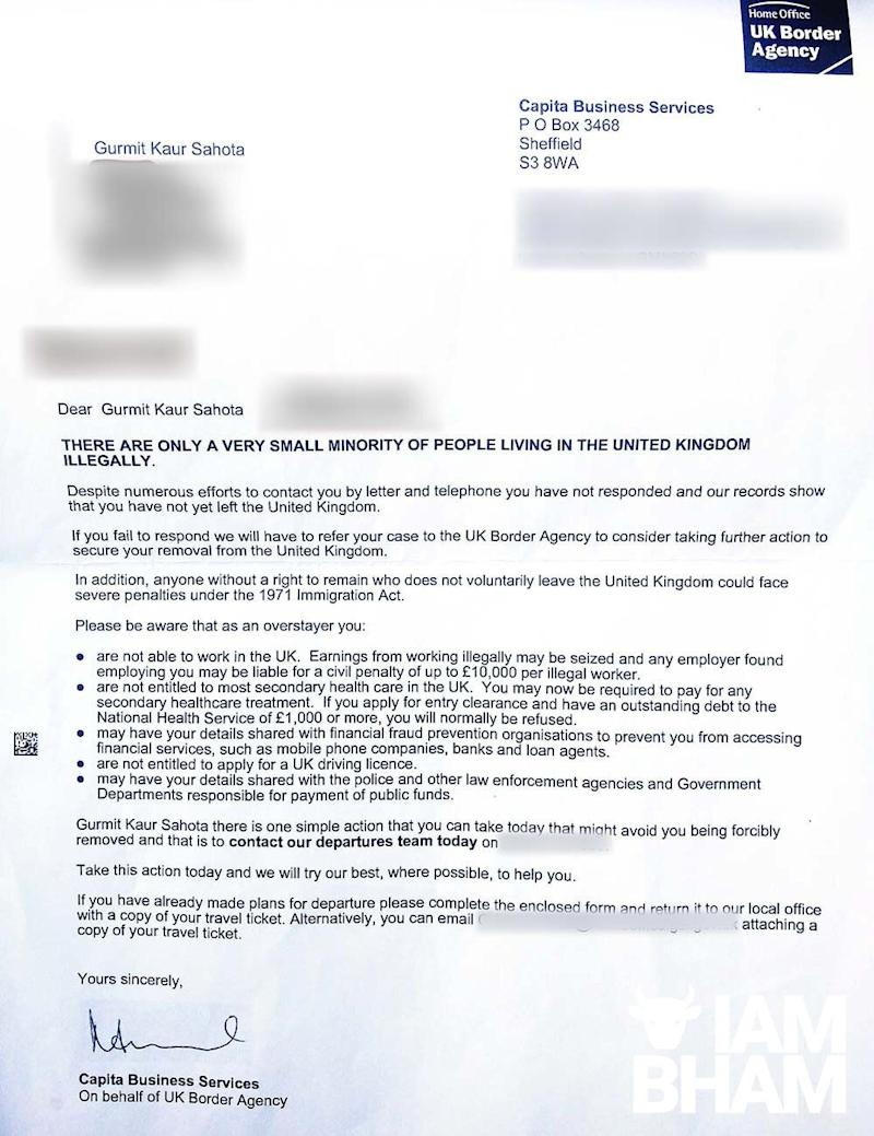The letter sent to Gurmit Kaur by contractors for the UK Border Agency. (Photo: I Am Birmingham)