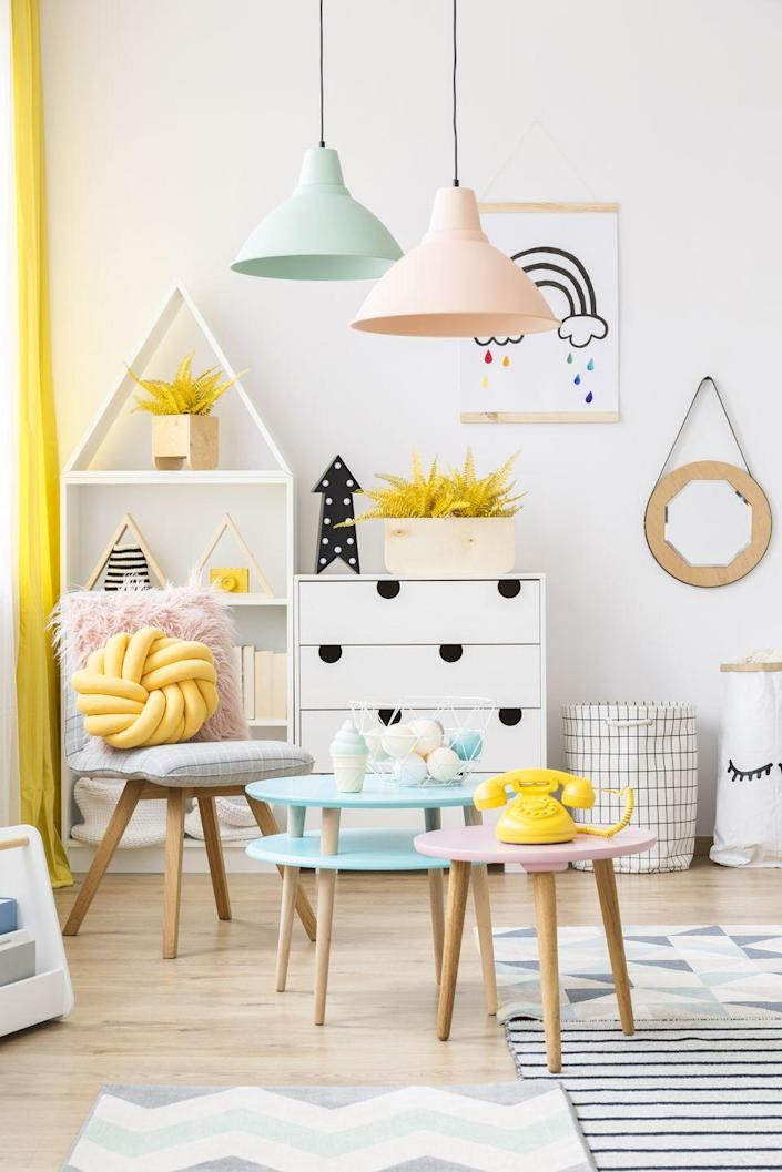 <p>Tired of your kid's toys taking over your living room? A playroom is a great solution. Go for ample storage, add a mini desk, and use bright colors to help build your little one's imagination.</p>