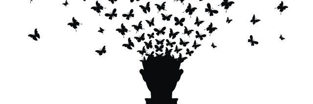 dafb718aa An illustration of a silhouette of a man as his head turns into butterflies  flying away