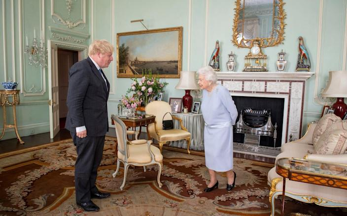 The Queen's first in-person weekly audience with the Prime Minister since the start of lockdown - PA