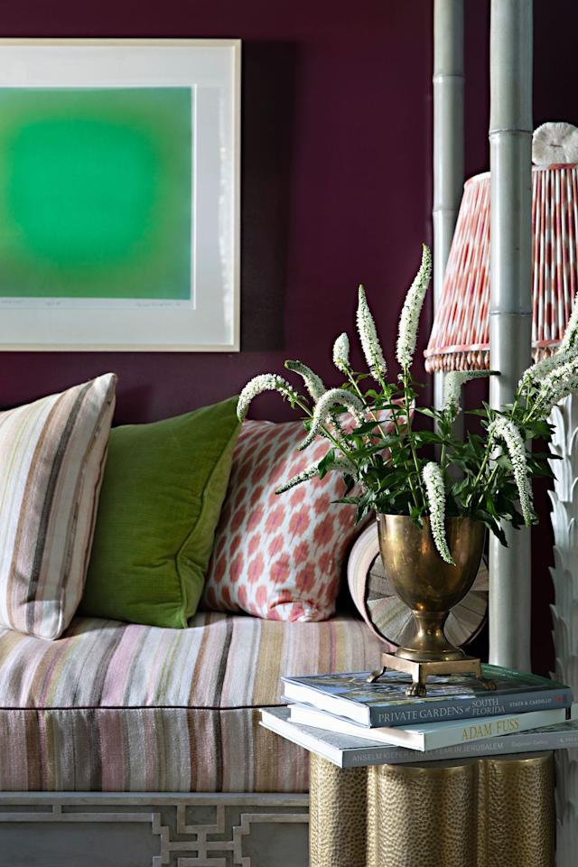 "<p>When I ask designer Kevin Isbell his favorite place to use trim, he replies ""Um, is EVERYWHERE an option?"" In short, yes, it is. One of Isbell's best uses? On this lampshade in his room at the <a href=""http://www.housebeautiful.com/design-inspiration/house-tours/g30731069/kips-bay-palm-beach-2020-design-tips/"">Kips Bay Palm Beach showhouse, </a>where he complemented a peachy pattern with the perfect detail. Yep, look closely—those are seashells dangling from the shade! </p>"