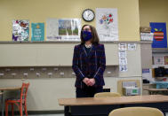 FILE - In this March 5, 2020, file photo, Oregon Gov. Kate Brown visits Sitton Elementary School in Portland, Ore. Gov. Brown has faced criticism from Republicans and business groups for being slow to lift coronavirus restrictions in the state. (Eder Campuzano/The Oregonian via AP, File)