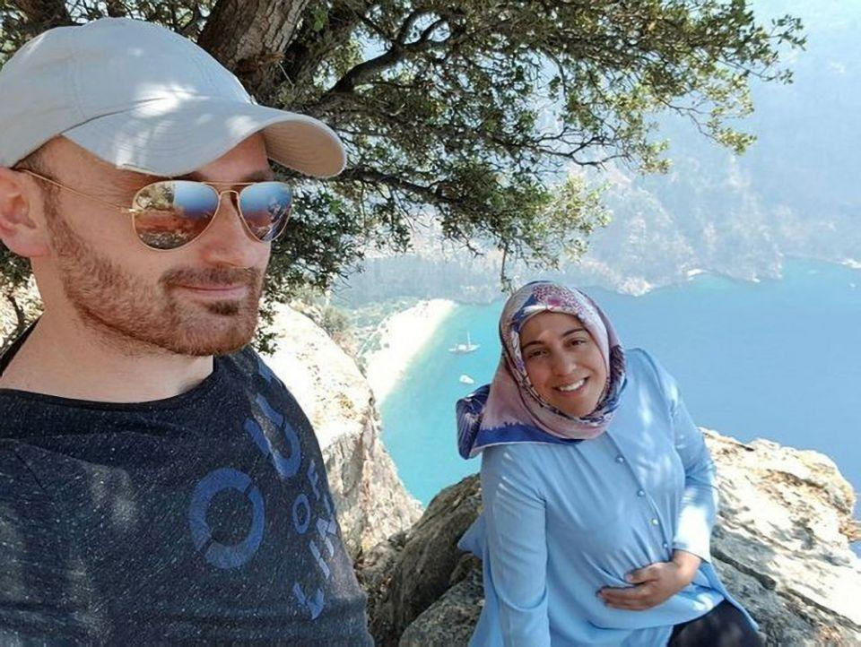 Sema Aysal and Hakan Aysal on the cliff. (Newsflash)