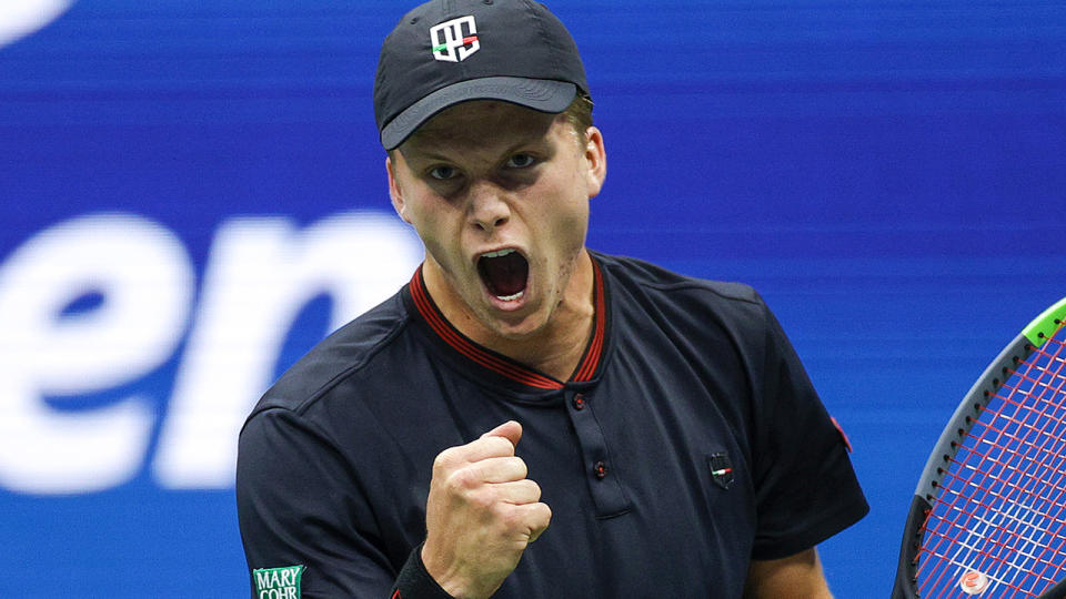 Jenson Brooksby, pictured here during his fourth-round clash with Novak Djokovic at the US Open.