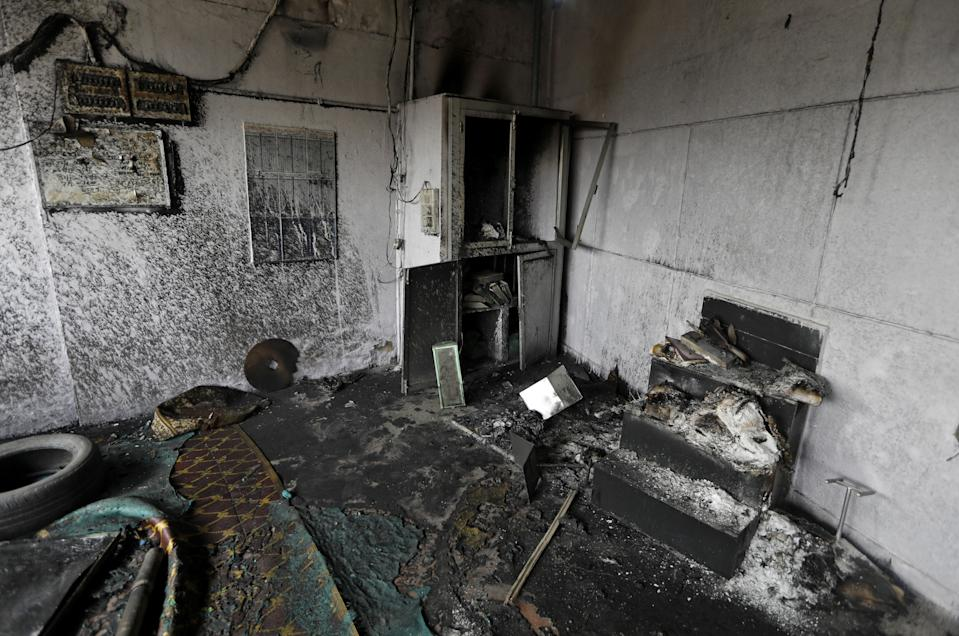 A view shows damaged interiors of a mosque after it was set on fire by a mob at a tyre market in a riot affected area after clashes erupted between people demonstrating for and against a new citizenship law in New Delhi, India, February 26, 2020. REUTERS/Adnan Abidi