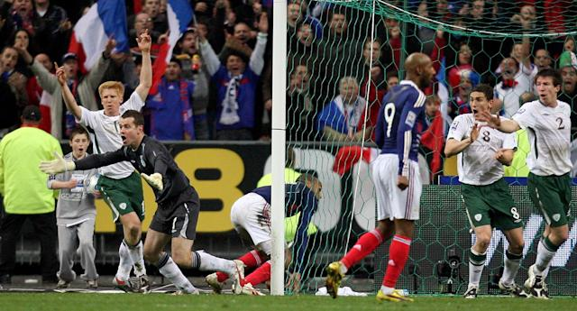 French fury: Thierry Henry set up Williams Gallas' winning goal for France against the Republic of Ireland – but he clearly used a hand