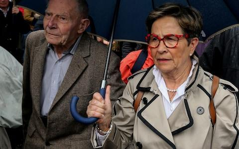 The parents of French quadriplegic Vincent Lambert, his father Pierre Lambert (L) and mother Viviane Lambert (R), arrive at the Sebastopol hospital in Reims, eastern France - Credit: FRANCOIS NASCIMBENI /AFP