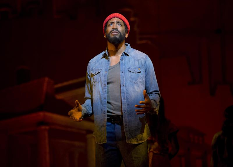 """This theater image released by Boneau/Bryan-Brown shows Bryan Terrell Clark as Marvin Gaye in """"Motown: The Musical,"""" performing at the Lunt-Fontanne Theatre in New York. (AP Photo/Boneau/Bryan-Brown, Joan Marcus)"""