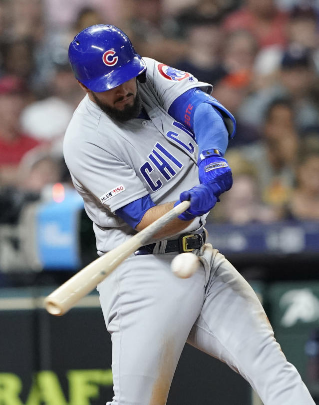 Chicago Cubs' David Bote hits a two-run home run against the Houston Astros during the sixth inning of a baseball game Tuesday, May 28, 2019, in Houston. (AP Photo/David J. Phillip)