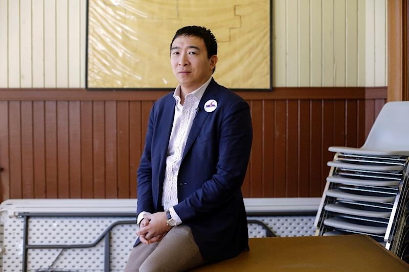 Entrepreneur and 2020 presidential candidate Andrew Yang launched his campaign with little fanfare in late 2017, warning against the dangers that automation presents to US workers (AFP Photo/Joshua Lott)