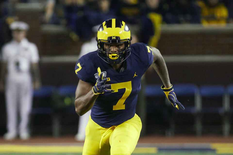 FILE - Michigan wide receiver Tarik Black (7) plays during an NCAA football game on Saturday, Aug. 31, 2019, in Ann Arbor, Mich. While most of the offseason chatter surrounding college football transfers inevitably focuses on quarterbacks, plenty of notable players at other positions also switched teams and could make major impacts for their new schools this fall. Black dealt with injuries for much of his three seasons at Michigan but played 12 games last season and caught 25 passes fo 323 yards and one touchdown. He joined Texas as a graduate transfer and has garnered plenty of praise in preseason camp. (AP Photo/Rick Osentoski, File)